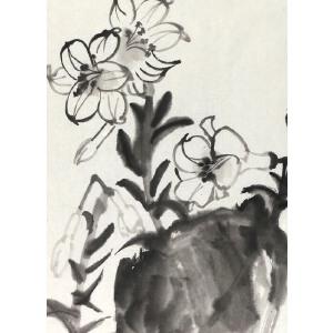 知名画家   刘海粟  《水仙花  》67*45cm,纸本软片,品如图。