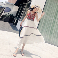 201808240341330312018夏装甜美气质波西米亚风吊带长裙海边度假沙滩裙连衣裙潮 图片色 均码