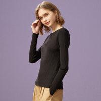 【全场2件2.5折,到手价:42.3】美特斯邦威打底衫女秋季女装新款修身舒适百搭套头毛衫学生针织衫
