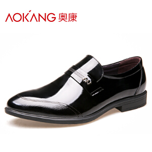 奥康男士正装皮鞋漆皮亮皮套脚德比男鞋