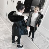 女童皮衣外套2018新款儿童加绒加厚中长款大衣女孩pu皮棉衣冬装潮 黑色皮衣