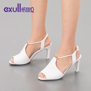 exull依思q新款凉鞋潮鞋鱼嘴搭扣高跟粗跟女鞋子