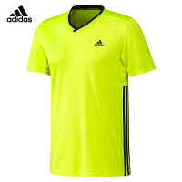 adidas阿迪达斯运动短袖T恤跑步训练男V领短袖羽毛球服