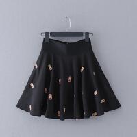 I77-10 春夏新款卡通刺绣修身高腰雪纺裙女式半身裙短裙