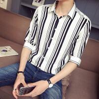 夏季男士短袖衬衫韩版白色衬衣条纹寸衫修身7七分袖休闲五分袖潮