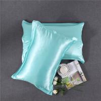 美容 枕套单人 枕头套 枕巾纯色丝绸枕芯套一对 水蓝色 48cmX74cm 一对装