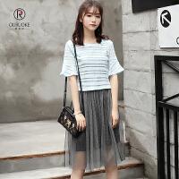 欧若珂 2018夏季韩版网纱两件套连衣裙