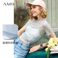 【到手价34元】Amii极简原宿风时尚T恤女2019夏季新款宽松罩衫透视网纱短袖上衣