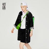 初语宽松牛仔外套女2018春秋新款时尚韩版个性超酷潮hiphop大衣
