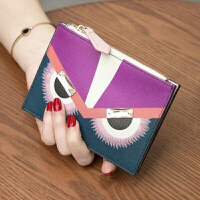 卡包女式韩国可爱皮多卡位钱包女短款两折简约零钱包