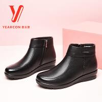 意尔康女鞋2017冬新款真皮软底妈妈鞋棉鞋舒适保暖加绒中老年短靴