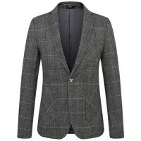 秋季新款格子休闲小西装男士外套韩版修身青年潮流帅气单西服上衣 灰色