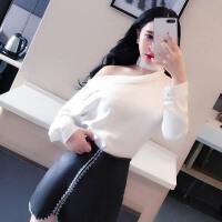 欧洲站女装夜店秋新品百搭性感漏肩一字领长袖白色衬衫潮2018 领