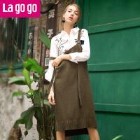 【清仓3折价71.7】Lagogo/拉谷谷2019年秋新时尚针织背带前短后长连衣裙