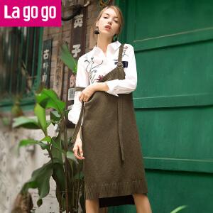 Lagogo/拉谷谷2017年秋新时尚针织背带前短后长连衣裙