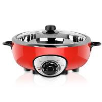 家用分体式食品级不锈钢韩式学生电热煮锅电火锅大容量4升 红