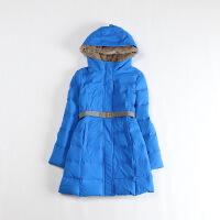冬装女中长款羽绒服 连帽领腰带修身加厚保暖外套1G