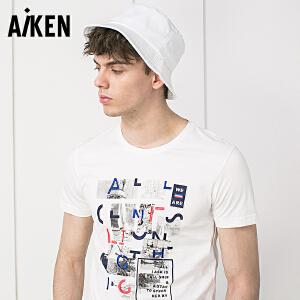 森马旗下Aiken纯棉短袖T恤男装夏日新款印花学生上衣青年圆领体恤潮