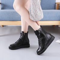 秋冬季马丁靴女2018新款百搭英伦风内增高短靴休闲加绒高帮鞋