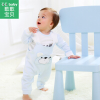 【2.26日秒杀价:24.9】歌歌宝贝宝宝背带裤套装1-3岁儿童春装外出服纯棉两件套婴儿衣服