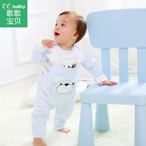 【9.18品牌秒杀25元】歌歌宝贝宝宝背带裤套装1-3岁儿童春装外出服纯棉两件套婴儿衣服
