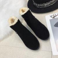 马丁靴女冬季冬鞋加绒保暖棉鞋矮靴英伦风粗跟中跟小短靴
