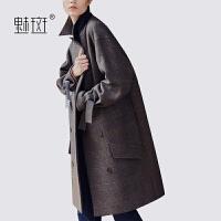 【新年狂欢到手价:449.5】魅斑2019秋冬新款欧美时尚宽松羊毛呢外套女中长款加厚格子呢大衣