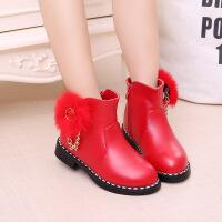 韩版女童靴子公主短靴中大童时尚儿童棉鞋加绒雪地靴冬鞋