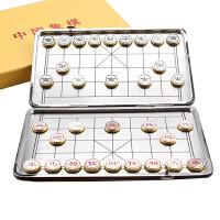 迷你中国象棋 铝合金折叠磁铁大象棋镀金旅游象棋便携式磁性薄棋盘套装礼盒 棋子直径20mm,厚度5mm 棋盘 228mm