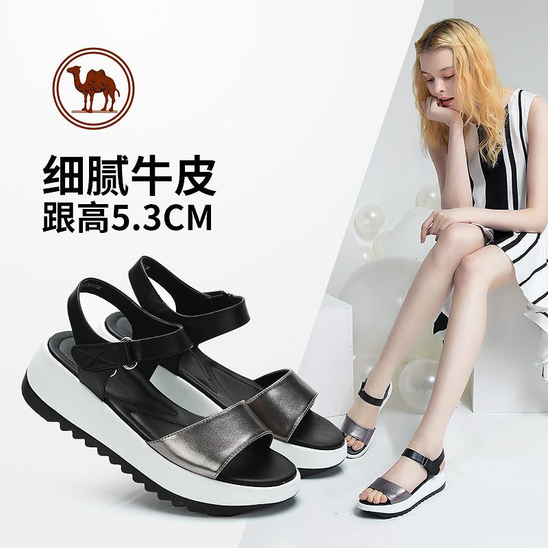 骆驼牌女鞋凉鞋夏款魔术贴搭扣坡跟厚底松糕鞋时尚罗马鞋