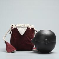 套装茶壶茶杯陶瓷 粗陶便携式旅行茶具套装茶壶茶杯陶瓷 +【酒红色收纳袋】