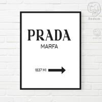 简约卧室玄关走道装饰画PRADA MARFA广告家居店面礼品服装店框画 45x63白色实木框 横版 单幅挂画