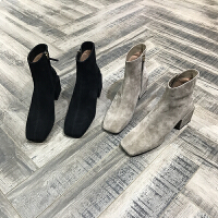 欧洲风格站2017冬新款女鞋羊�S皮加绒方头粗跟高跟靴子中筒马丁靴