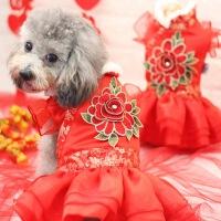 宠物衣服 狗狗衣服 刺绣蕾丝羊羔绒旗袍装秋冬春 中式典雅圣诞元旦新年红色 宠物用品