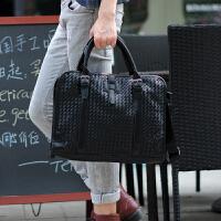 男包包时尚手提包韩版单肩斜挎包 潮商务公文包编织背包休闲包