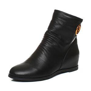 BASTO/百思图2017冬季黑色牛皮休闲简约后拉链内增高女短靴75191DZ7