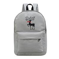 日韩版双肩包初中学生书包女帆布背包电脑包日系潮可爱学院风2448 小鹿灰色