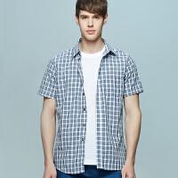 男士竹纤维短袖衬衫 冰爽绿蓝小格