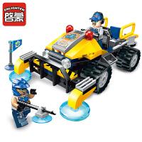 启蒙积木男孩拼装晶石工程小队模型拼插玩具益智6-8-10岁儿童玩具