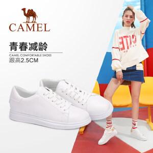 骆驼女鞋2018秋季新款韩版百搭白色平底板鞋休闲系带圆头小白鞋女