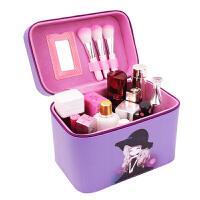 大容量化妆包韩版旅行化妆品收纳箱便携手提化妆箱出游洗漱收纳盒 紫色 女孩大号
