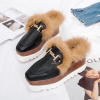 厚底毛毛鞋女半托鞋冬新款外穿包头拖鞋坡跟高跟松糕懒人半拖鞋女SN8986 黑色(增高7.5厘米)