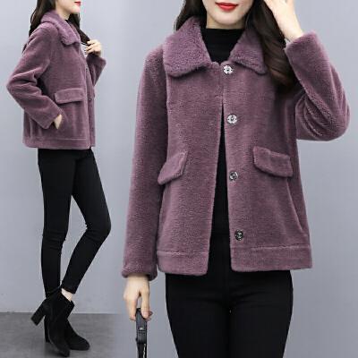 2020新款时尚羊剪绒大衣女士颗粒绒短款皮毛一体羊羔毛皮草外套女