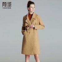 颜域品牌女装2017冬装新款欧美纯色西装领收腰中长款毛呢外套大衣