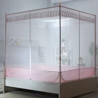 坐床式蚊帐三开门1.5/1.8m床蒙古包双人家用方顶拉链加密加厚支架
