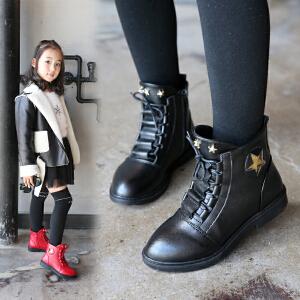 童鞋女童靴子2018秋冬马丁靴儿童加绒短靴韩版公主靴中大童雪地鞋
