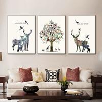 北欧客厅装饰画沙发背景墙壁画三联现代简约餐厅简欧挂画油画kt5