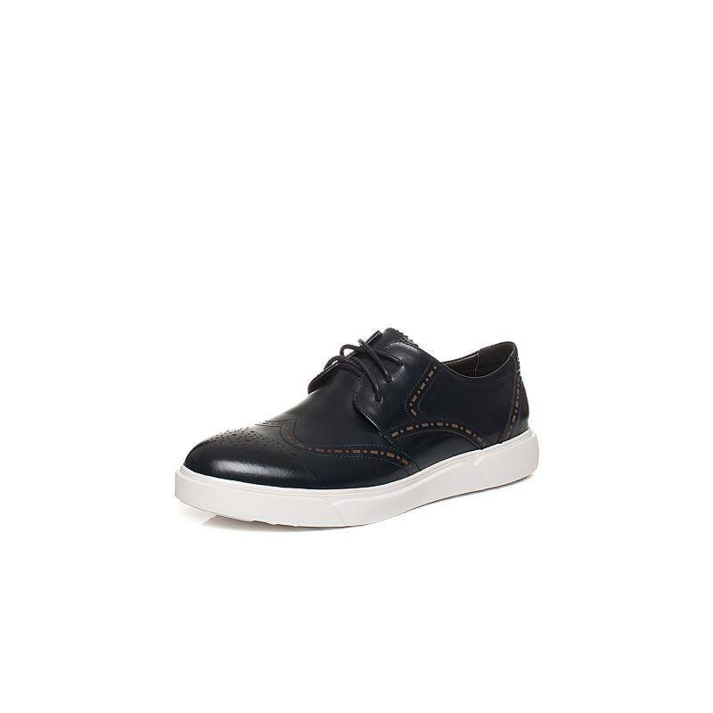 Teenmix/天美意秋专柜同款牛皮英伦风平跟系带鞋男休闲鞋1XU01CM6