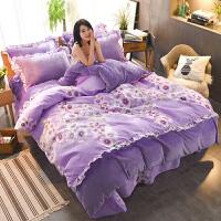 加厚冬季保暖法莱绒四件套韩版珊瑚绒AB版法兰绒床单被套床上用品 1.5m床 (被套200*230cm)四件套