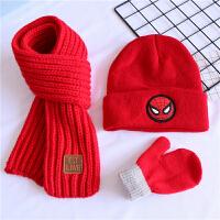 三件套蜘蛛侠儿童帽子围巾秋冬女宝宝毛线帽男童针织套头帽1-8岁 红色 猪猪侠帽 +红巾+红手套